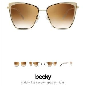 diff becky frames gold + flash brown gradient lens